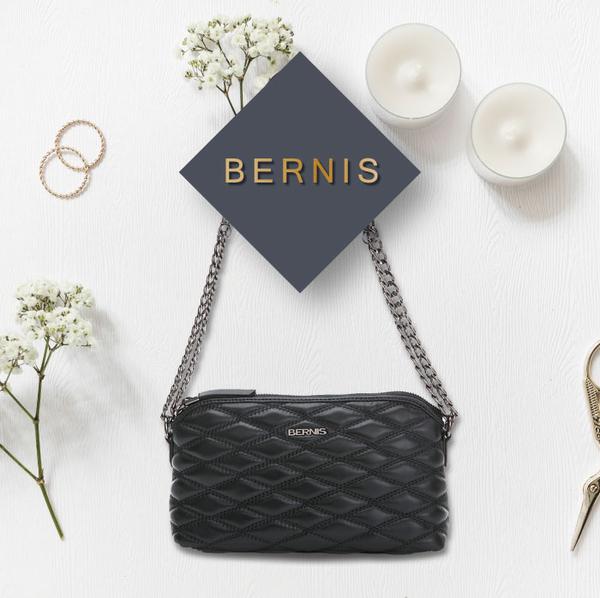 《高仕皮包》【免運費】BERNIS兩用側肩包-小羊皮菱格紋系列BNA18044BK