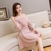 VK精品服飾 韓系時尚一字領燈籠袖蝴蝶結收腰條紋長袖洋裝