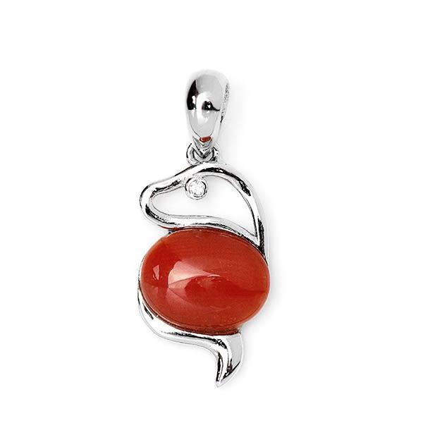 【大東山樑御】十二生肖蛇年天然紅珊瑚吊飾墜子S925純銀鍍白K