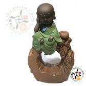 圓滿沙彌陶土香爐/綠色【十方佛教文物】