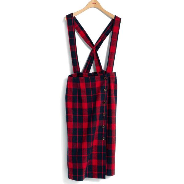 秋冬單一特價[H2O]吊帶可拆配色大格紋顯瘦直筒吊帶中長裙 - 紅藍格/黑白格色 #9634014