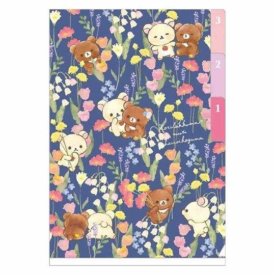 〔小禮堂〕懶懶熊 拉拉熊 日製迷你L型分類文件夾《A6.深藍.花朵》資料夾.L夾.檔案夾 4974413-74767