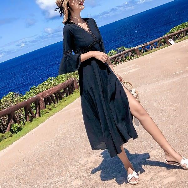 梨卡★現貨 - 氣質高冷黑色復古風顯瘦V領長洋裝長裙洋裝連身裙C6400