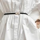 女皮带 珍珠腰封女細款 白色氣質型珍珠裝飾連衣裙腰帶簡約時尚束腰皮帶【快速出貨八折下殺】