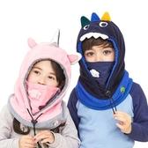 兒童帽子圍巾一體秋冬季男童女童圍脖套頭帽寶寶嬰兒帽子防風護耳