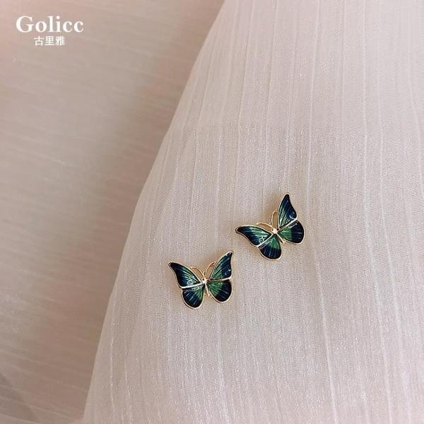 耳環 法式油畫蝴蝶小耳釘925純銀銀針復古耳環女氣質睡覺不用摘的耳釘