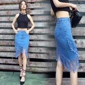 2018新款流蘇牛仔裙半身裙夏季不規則短裙中長款包臀裙子魚尾裙潮