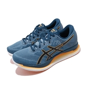 【六折特賣】Asics 慢跑鞋 GlideRide 深藍 黑 橘 男鞋 路跑 亞瑟士 省力 弧形鞋底 【ACS】 1011A817400