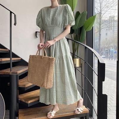日系洋裝~長版長裙~韓國重工刺繡燈籠袖蕾絲連身裙女N505F愛尚布衣
