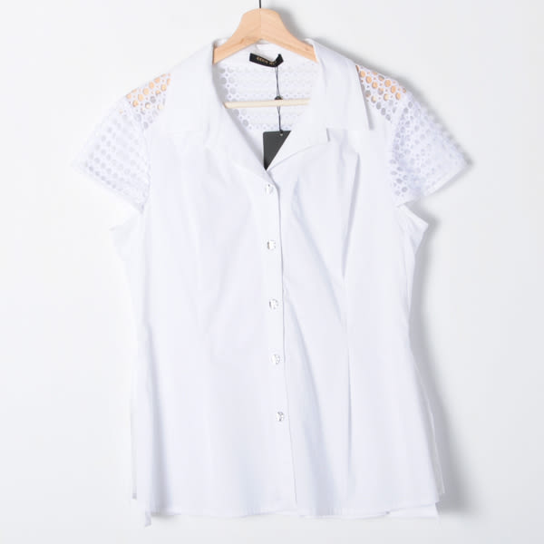 【REICO HSU 許瑋玲】蕾絲洞洞設計款拼接襯衫