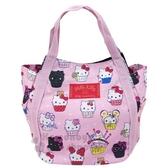 〔小禮堂〕Hello Kitty 帆布托特包手提包《粉.杯子蛋糕》手提袋.外出袋.便當袋 4582135-13260