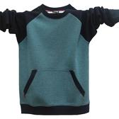 長袖T恤男撞色小男孩 青少年中學生口袋修身潮流純棉打底衫