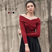 東京著衣【KODZ】微性感大V領修身多色針織上衣-S.M.L(171969)