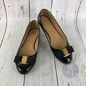 BRAND楓月 Salvatore Ferragamo 菲拉格慕 黑蝴蝶結漆皮娃娃鞋 包鞋 平底鞋 休閒鞋 皮鞋 #6