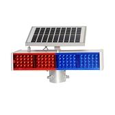 太陽能爆閃燈道路施工頻閃紅藍雙面路障交通太陽能警示燈LED爆閃 1995生活雜貨