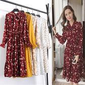 2018春裝新款韓版中長款碎花雪紡洋裝長袖女修身過膝花色打底裙DSHY