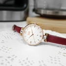 NATURALLY JOJO / JO96972-15R / 格紋時尚 藍寶石水晶玻璃 晶鑽 日期 真皮手錶 白x玫瑰金框x紅色 34mm