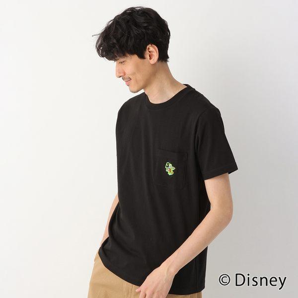 GLOBAL WORK男素色圓領迪士尼聯名Disney布標口袋印花短袖T恤上衣-黑