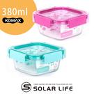 【索樂生活】韓國KOMAX Ice Glass冰鑽方型玻璃保鮮盒380ml