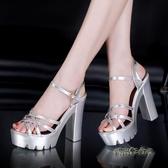 銀色走秀模特高跟鞋粗跟防水臺13cm恨天高超高跟厚底大碼涼鞋女夏