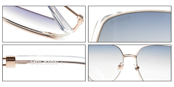 MOLSION 太陽眼鏡 MS6073 B90 (透明玫瑰金-漸層藍鏡片) Angelababy代言摩登款 墨鏡 #金橘眼鏡