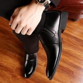 男士皮鞋男軟底韓版青年商務休閒男鞋真皮英倫正裝鞋子潮 晴天時尚