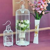 籠子鐵藝鳥籠裝飾 歐式鳥籠櫥窗擺件 復古花籠子大號金屬婚慶攝影道具Igo 歡樂聖誕節