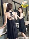 露背睡裙女夏莫代爾棉薄款冰絲性感吊帶洋裝帶胸墊大碼睡衣女 印象家品