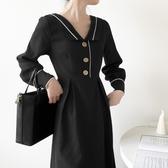 秋冬裝年新款法式復古修身收腰顯瘦長袖裙子v領氣質洋裝女 【雙11特惠】