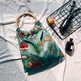 購物包 手提帆布單肩包購物袋女手挽包-沙漠綠洲 綠光森林
