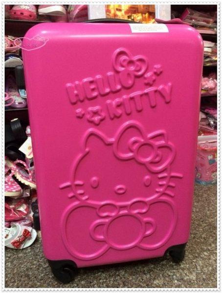 ♥小花花日本精品♥ 桃色耐撞耐刮大容量硬殼登機箱/行李箱旅行箱 趴姿蝴蝶結