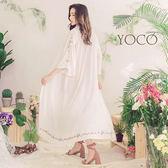 東京著衣【YOCO】慵懶春氛純白繡花寬袖罩衫-S.M.L(180301)