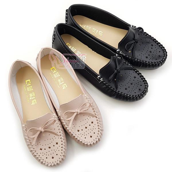 包鞋.MIT幾何簍空蝴蝶結莫卡辛鞋.黑/粉【鞋鞋俱樂部】【023-ST2327】