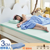House Door 抗菌防螨布 3cm厚記憶床墊超值組-單人3尺水湖藍
