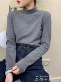 秋冬打底衫女韓版純色半高領內搭寬鬆加絨加厚外穿長袖T恤上衣潮