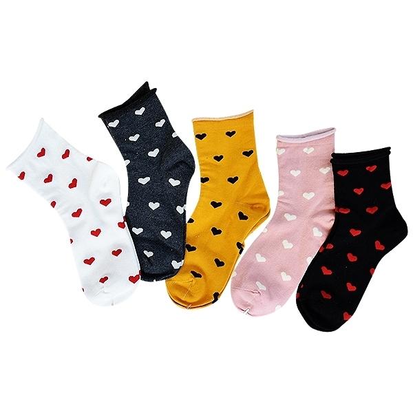 日系學院風捲邊愛心少女中筒襪(1雙入) 【小三美日】款式隨機出貨