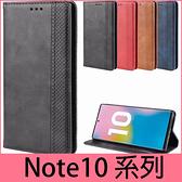 【萌萌噠】三星 Galaxy Note10 Note10+ 復古紋商務款 錢包式側翻皮套 可插卡磁吸 全包軟殼 手機殼