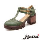 英倫風時尚復古雕花T字造型厚底粗跟涼鞋 ...
