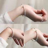 韓版時尚細款光面開口蒜頭手鐲子光圈簡約手環不掉色銀飾品女禮物【好康618】