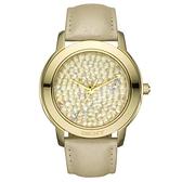 DKNY 亮眼晶粹時尚水晶腕錶(金)