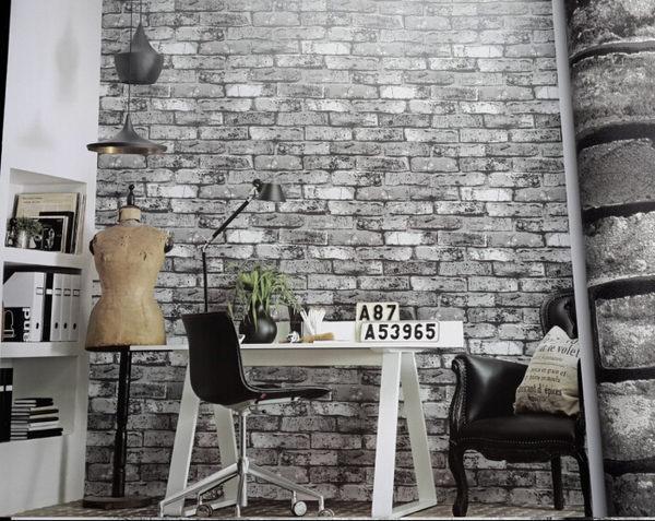 紅灰色3D立體中式複古仿真磚頭磚塊紋牆紙餐廳飯店文化石背景壁紙SSJJG【時尚家居館】
