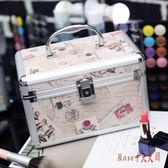 鋁合金化妝箱手提雙層大容量小號便攜收納箱盒專業帶鎖化妝包LXY1473【Rose中大尺碼】