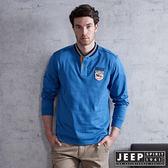 【JEEP】運動風時尚經典棒球領長袖POLO衫(黎明藍)