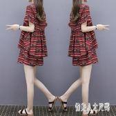 中大尺碼 2019新款女裝夏裝雪紡上衣闊腿短褲休閒時尚兩件套潮 FR7138『俏美人大尺碼』