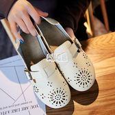 透氣平跟洞洞鞋鏤空網鞋包頭拖鞋女半拖涼鞋夏季鞋子女平底學生鞋