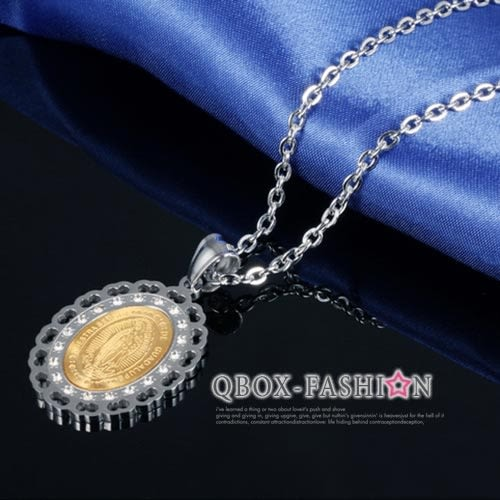 《 QBOX 》FASHION 飾品【W2016N1066】精緻個性聖母瑪利亞鑲鑽316L鈦鋼墬子項鍊