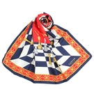 LANVIN西洋棋印花披肩絲巾(紅藍色)487999
