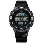 CASIO / WS-1100H-1A / 卡西歐 電子液晶 月相潮汐顯示 兩地時間 防水100米 橡膠手錶 黑色 43mm