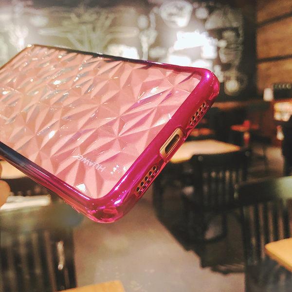【萌萌噠】華為 HUAWEI P20 / P20 pro 電鍍炫彩 漸變色菱形鑽石紋保護殼 全包氣囊防摔透明軟殼