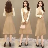 針織連衣裙秋裝女新款毛衣配背帶裙子兩件套裝毛呢秋冬季長裙Mandyc